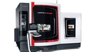 The new Lasertec 3D hybrid series combines additive manufacturing using a powder nozzle and 5-axis simultaneous milling in one work area.